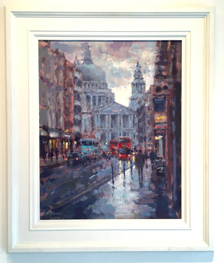 St Paul's Reflection London - Original cityscape painting Contemporary Art - Painting by David Farren