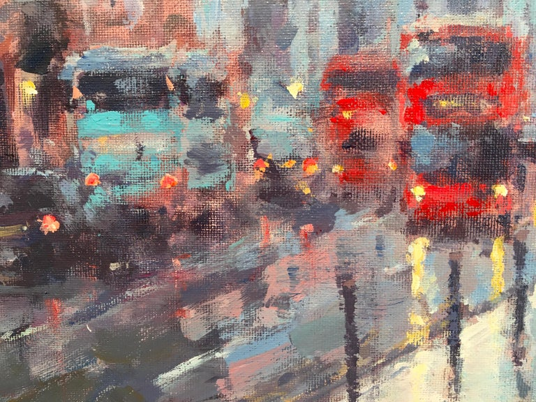 St Paul's Reflection London - Original cityscape painting Contemporary Art - Gray Abstract Painting by David Farren