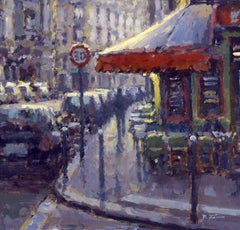 Street Corner Cafe, Paris,  original City landscape painting