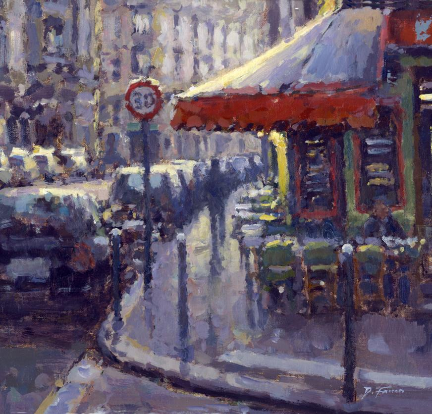 Street Corner Cafe, Paris - original City landscape painting