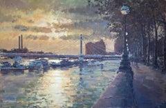 Sun Breaking Through the Clouds, Albert Bridge - Original Contemporary art