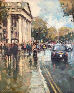 Sun Through the Clouds St Martins - London cityscape painting Contemporary Art