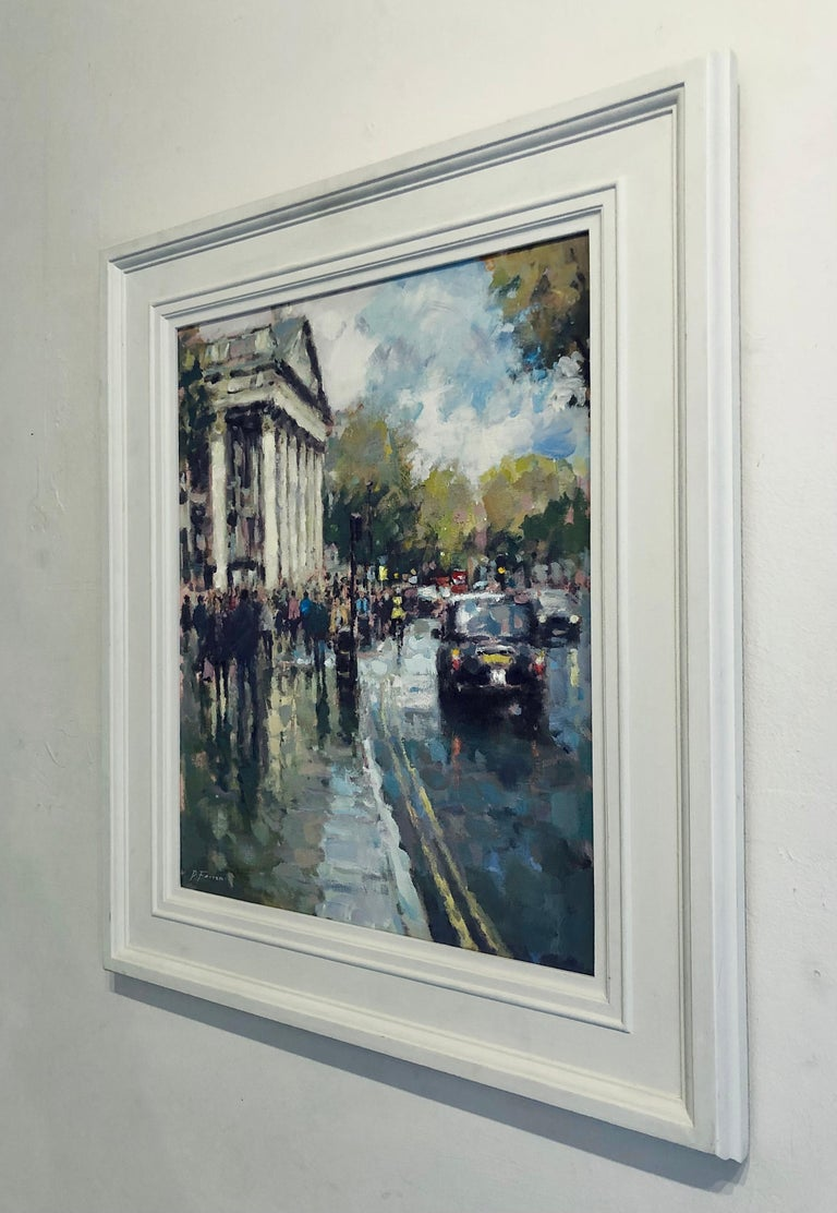 Sun Through the Clouds St Martins - London landscape City artwork Contemporary  - Impressionist Painting by David Farren