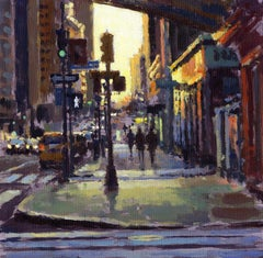 Sunrise, E42nd - original Cityscape painting modern Contemporary Impressionist