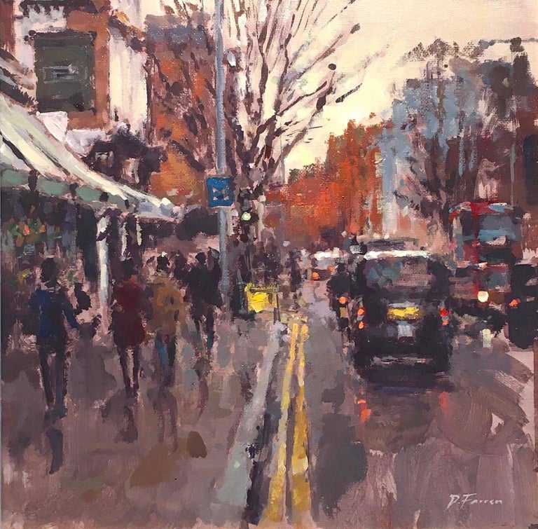 The Ivy  Chelsea Garden London SW3 original City landscape painting - Painting by David Farren