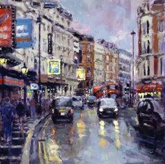 Twilight, Shaftesbury Avenue - London Cityscape painting Contemporary Art