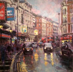 Twilight Shaftesbury Avenue original City Landscape painting
