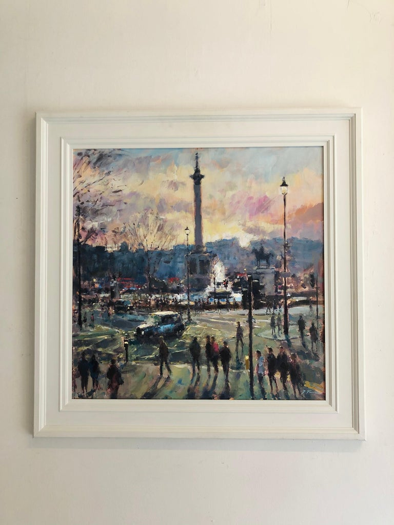 View from St Martins London - original Cityscape figure painting Contemporary  - Painting by David Farren