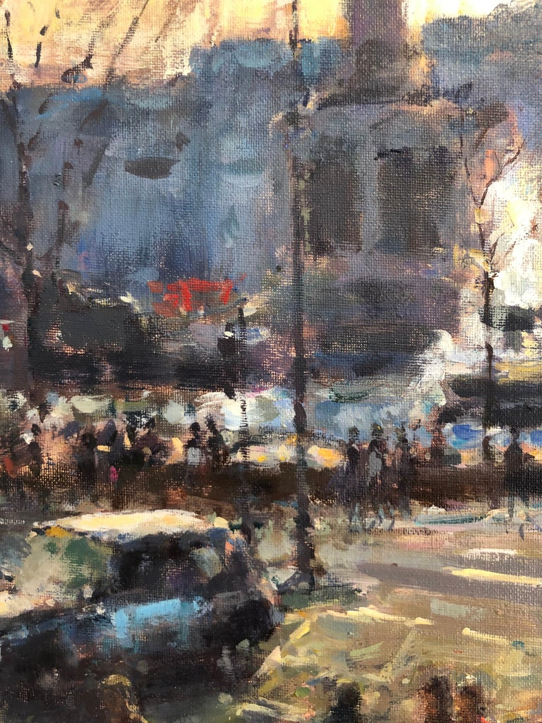View from St Martins London - original Cityscape figure painting Contemporary  - Impressionist Painting by David Farren