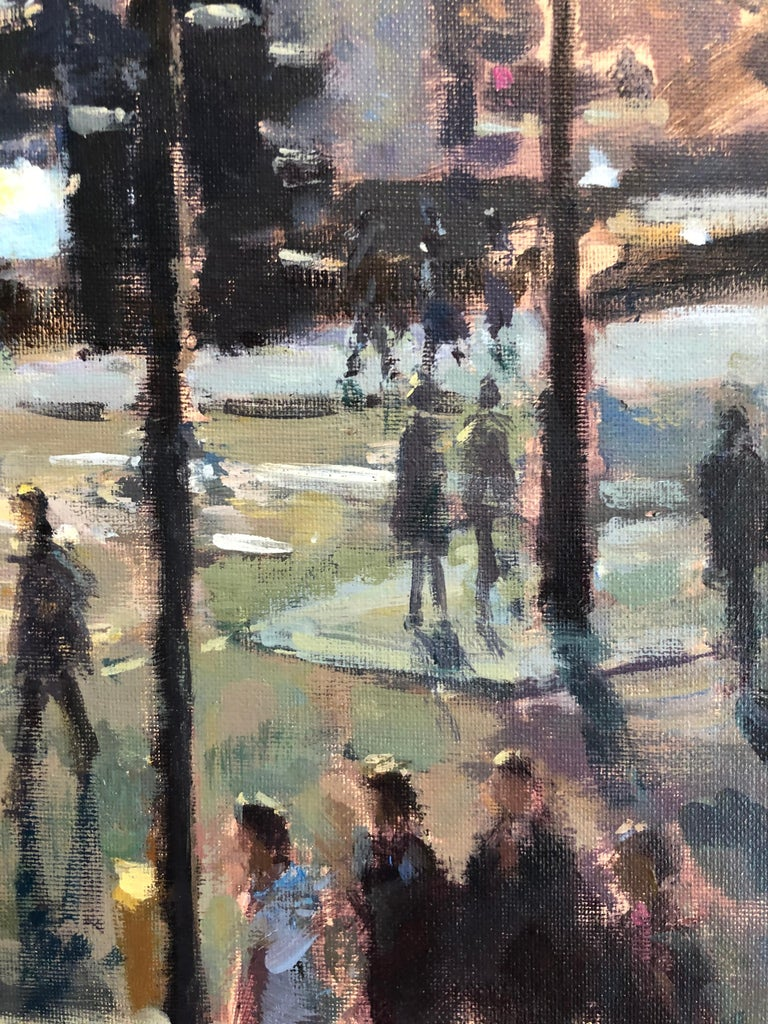 View from St Martins London - original Cityscape figure painting Contemporary  - Gray Landscape Painting by David Farren