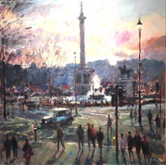 View from St Martins London - original Cityscape people painting Contemporary