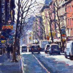 Winter Light, NYC original City landscape painting Contemporary Impressionist
