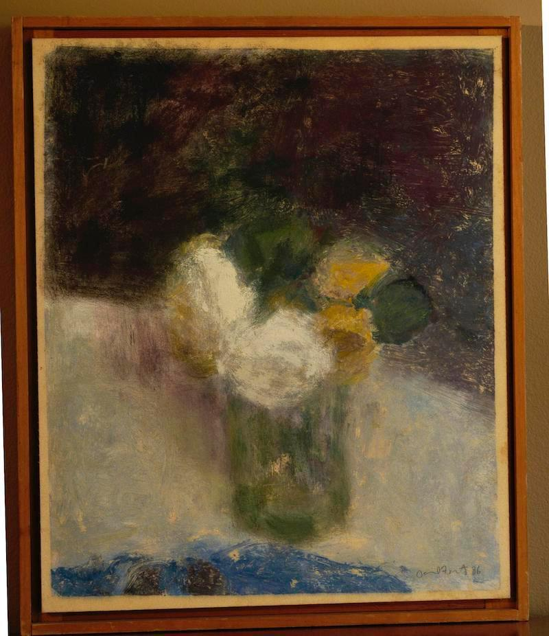 Impressionist Still Life of White Roses in the style of Vuillard