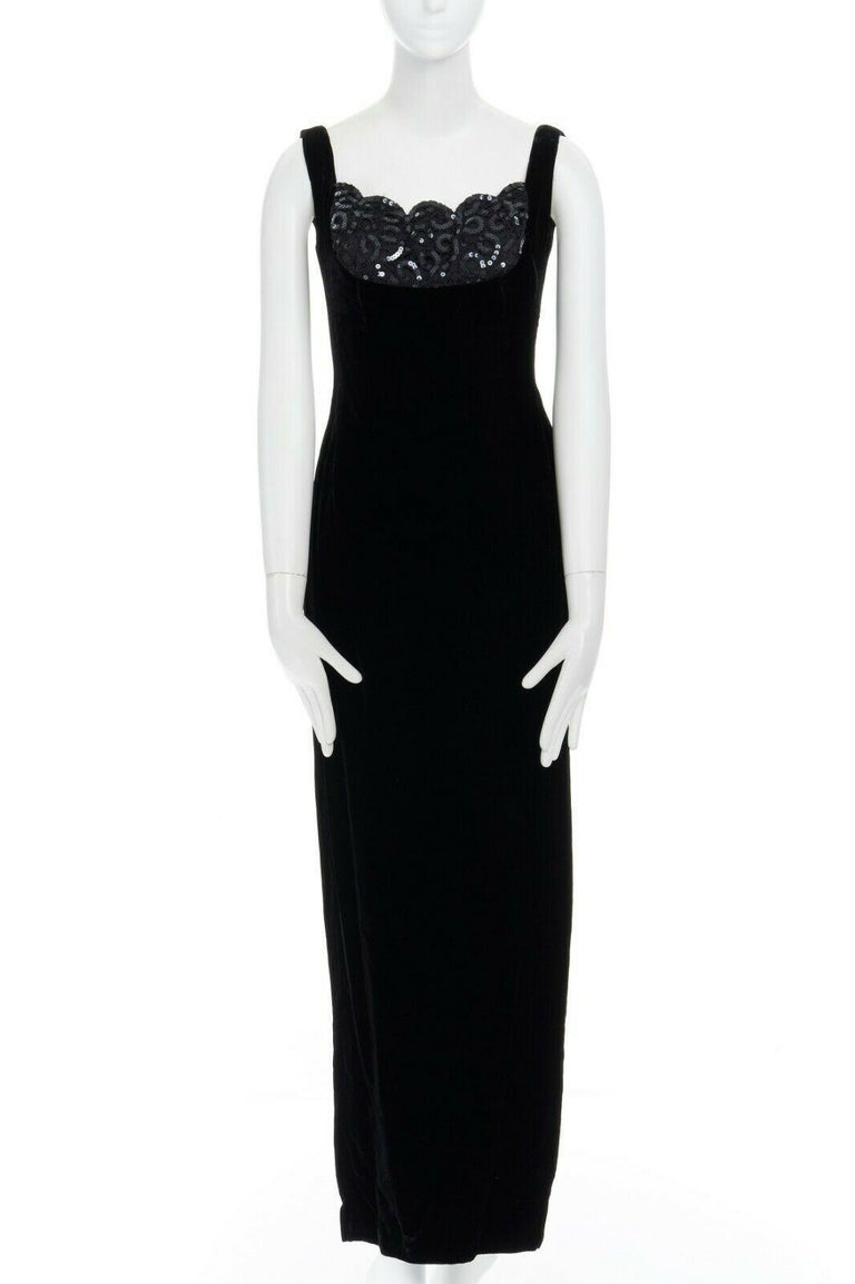 DAVID FIELDEN black velvet sequins lace scallop neckline gown dress UK12 US8 M In Good Condition For Sale In Hong Kong, NT