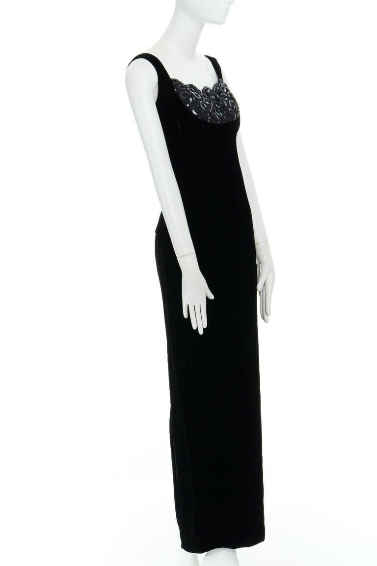 Women's DAVID FIELDEN black velvet sequins lace scallop neckline gown dress UK12 US8 M For Sale