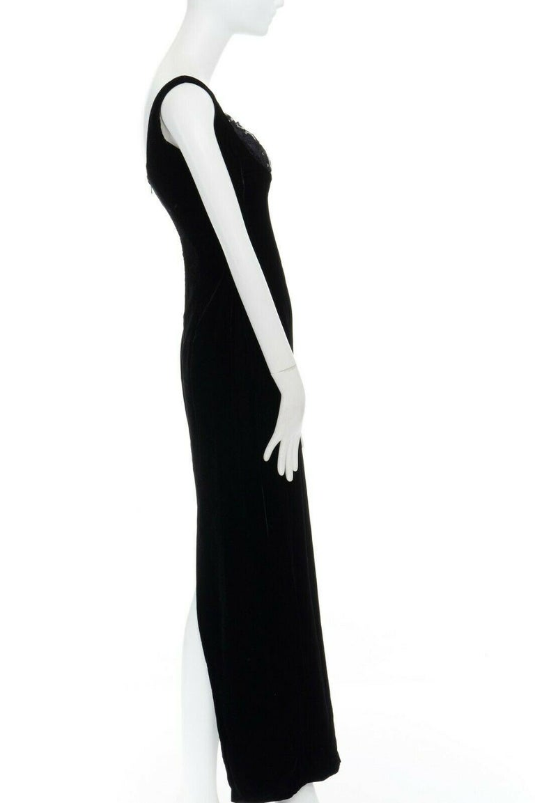 DAVID FIELDEN black velvet sequins lace scallop neckline gown dress UK12 US8 M For Sale 2