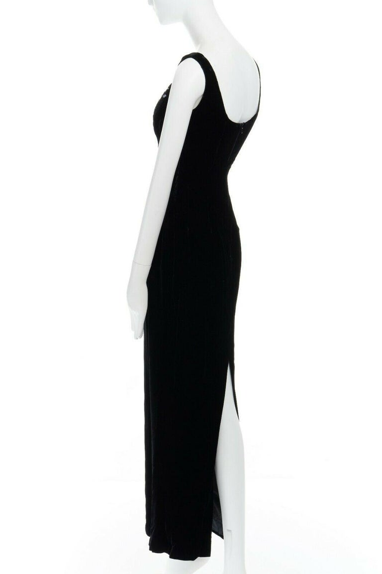 DAVID FIELDEN black velvet sequins lace scallop neckline gown dress UK12 US8 M For Sale 3