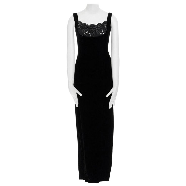 DAVID FIELDEN black velvet sequins lace scallop neckline gown dress UK12 US8 M For Sale