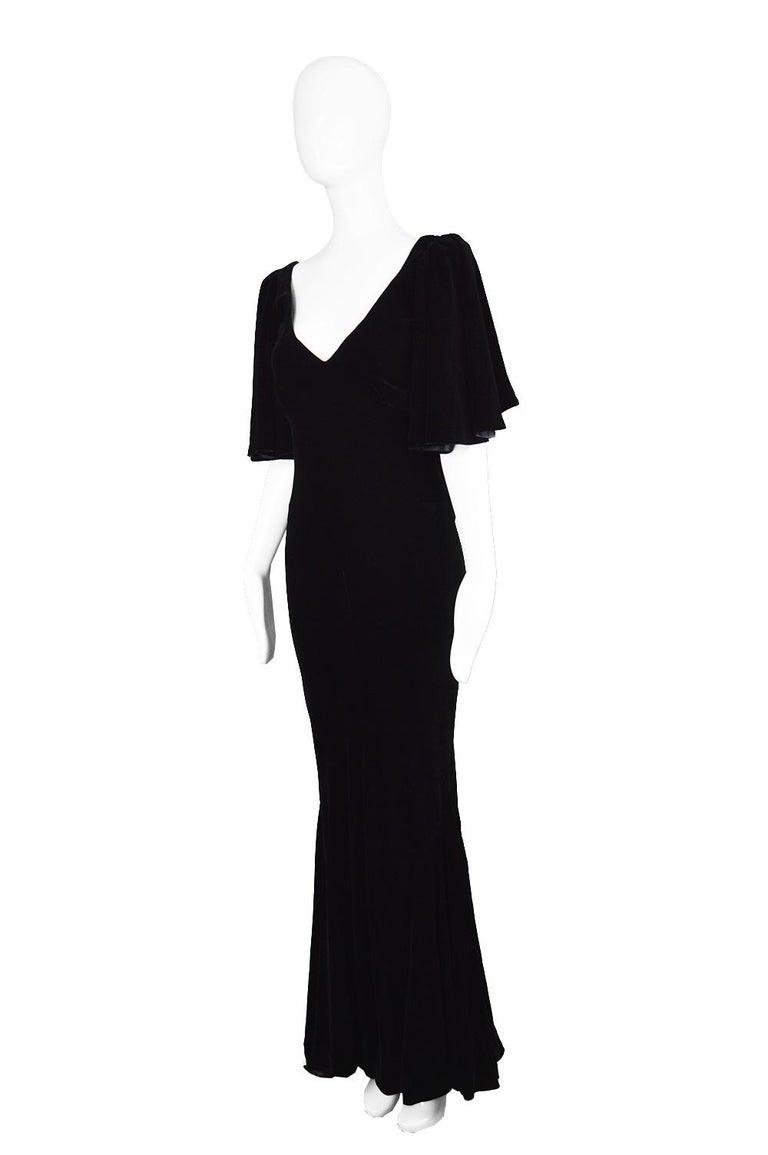 David Fielden Vintage Black Velvet Fishtail Evening Gown For Sale 1
