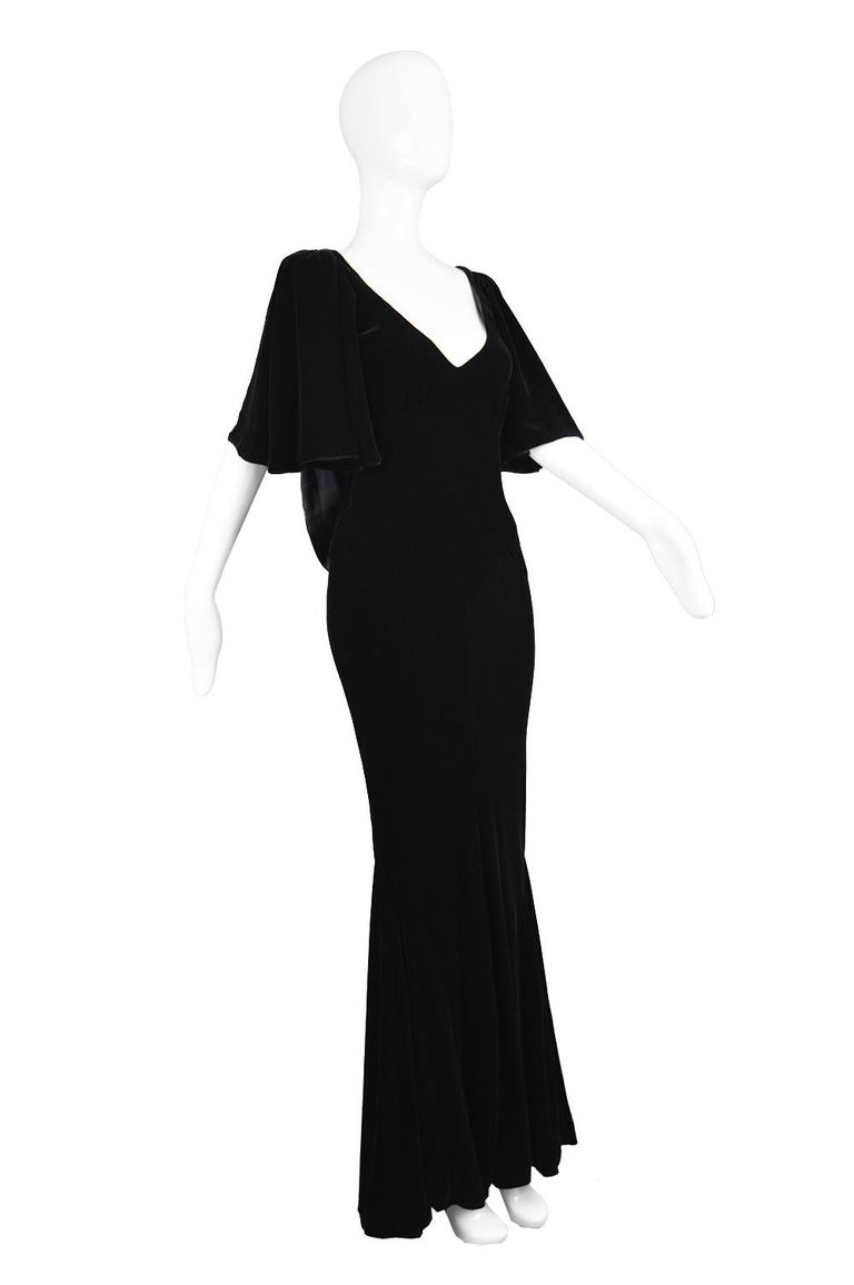 David Fielden Vintage Black Velvet Fishtail Evening Gown For Sale 2