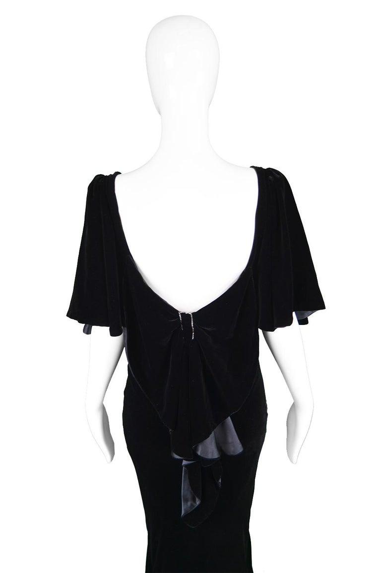 David Fielden Vintage Black Velvet Fishtail Evening Gown For Sale 3
