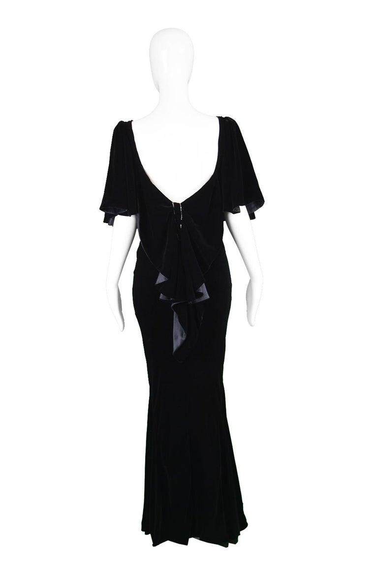 David Fielden Vintage Black Velvet Fishtail Evening Gown For Sale 4