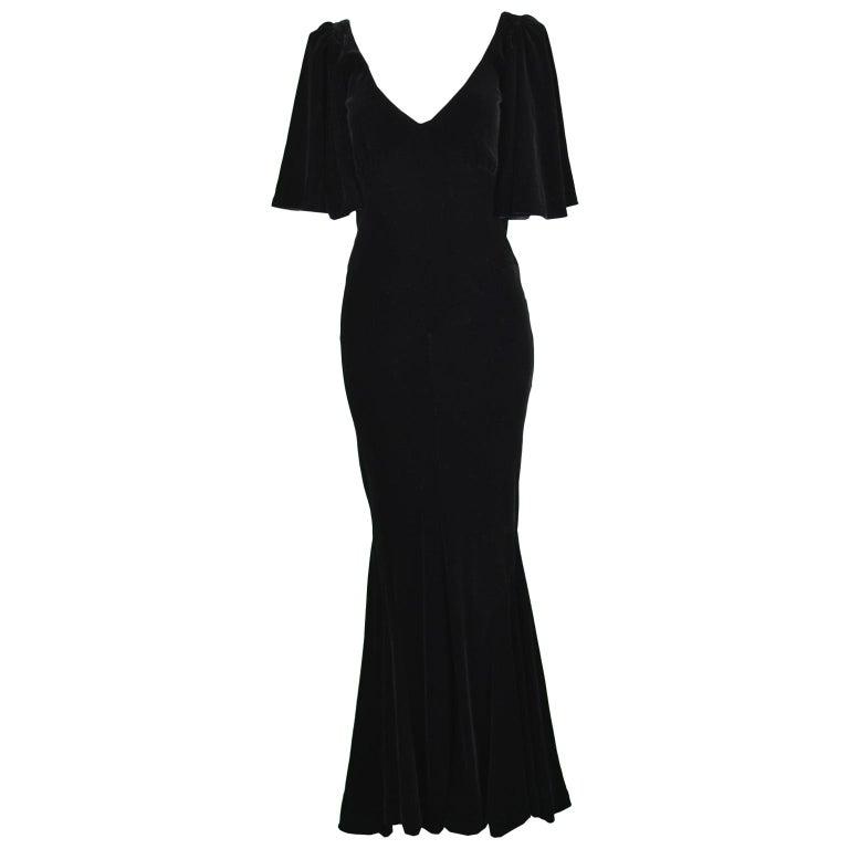 David Fielden Vintage Black Velvet Fishtail Evening Gown For Sale