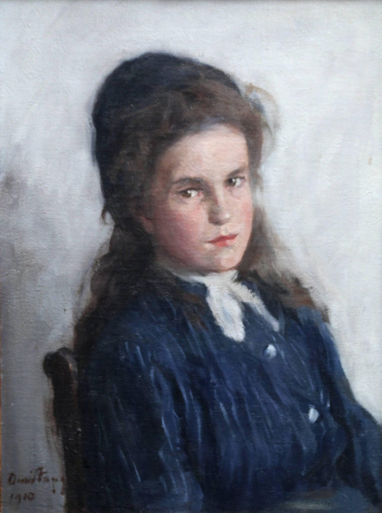 Portrait of a Girl - Scottish Edwardian Impressionist art oil painting For Sale 1