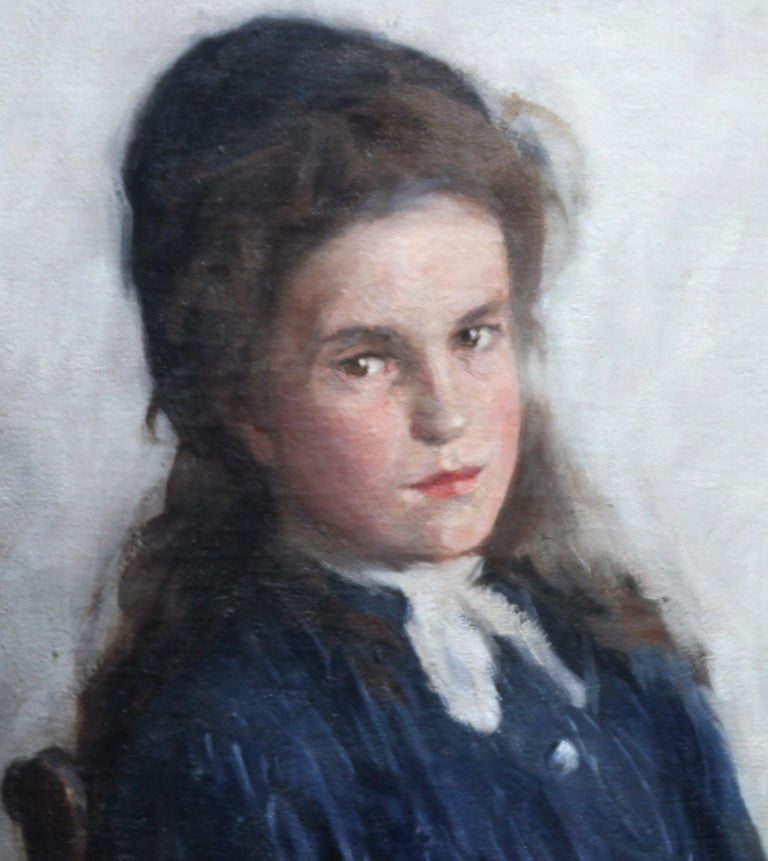 Portrait of a Girl - Scottish Edwardian Impressionist art oil painting - Black Portrait Painting by David Foggie
