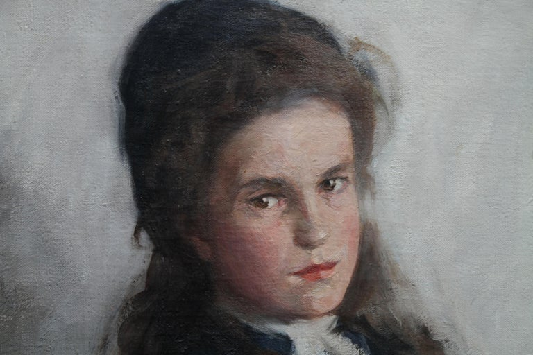 An original large Scottish portrait oil by noted Scottish artist David Foggie which depicts a portrait of a young girl in a blue dress. This painting is one of his best portraits. It dates to 1910 and is in fine condition with bright vibrant