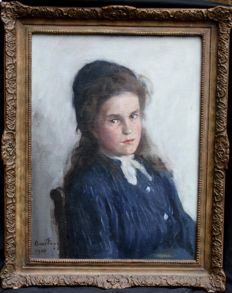Portrait of a Girl - Scottish Edwardian Impressionist art oil painting For Sale 6