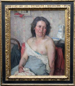 Portrait of Woman Bathing-Scottish 20's Impressionist nude interior oil painting