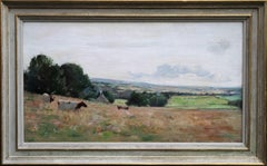 Cattle in a Panoramic Landscape - Scottish art 1910 Impressionist oil painting