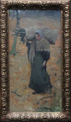 Gathering Faggots - Scottish art twenties Impressionist landscape oil painting