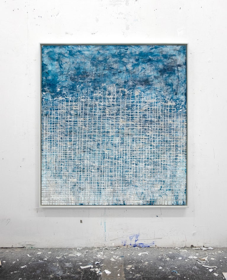 Cultural Scream- street art blue and white abstract framed carved painting  - Painting by David Fredrik Moussallem