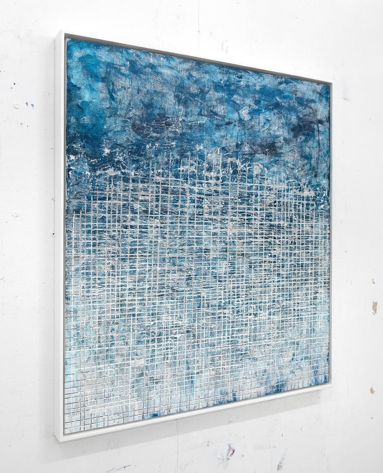 Cultural Scream- street art blue and white abstract framed carved painting  - Street Art Painting by David Fredrik Moussallem