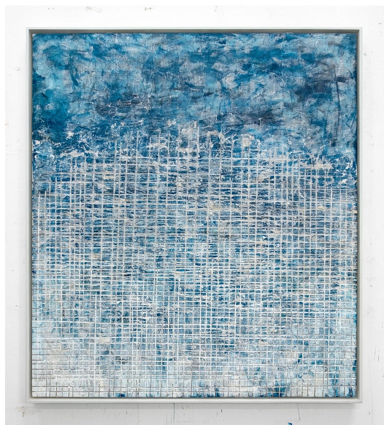 David Fredrik Moussallem Abstract Painting - Cultural Scream- street art blue and white abstract framed carved painting