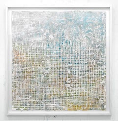 Debris on Davenport - street art blue, brown and white abstract framed painting