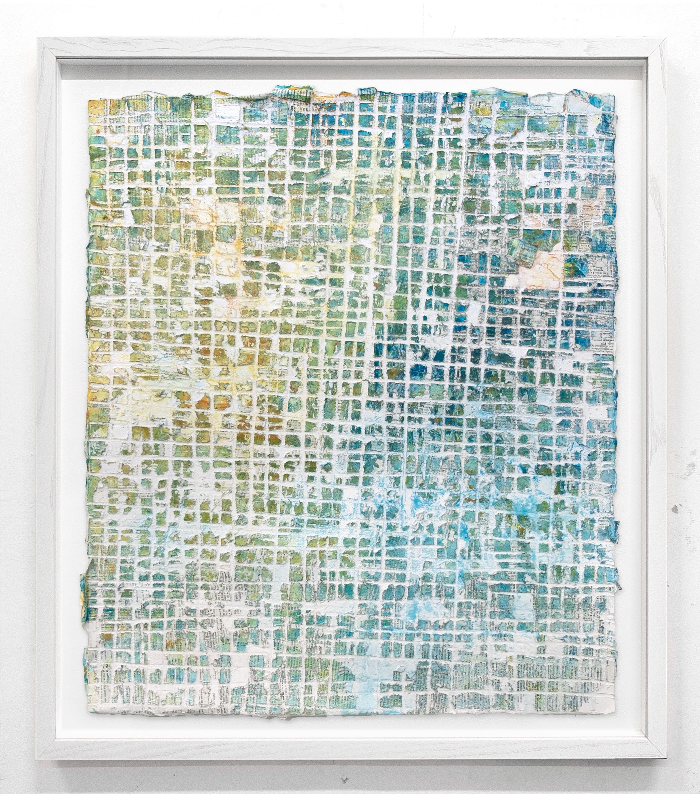 Movers and Dealers - street art blue, brown and white abstract framed painting