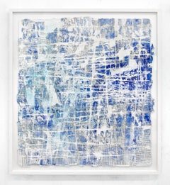 Safe to Say - street art blue and white abstract painting on paper framed