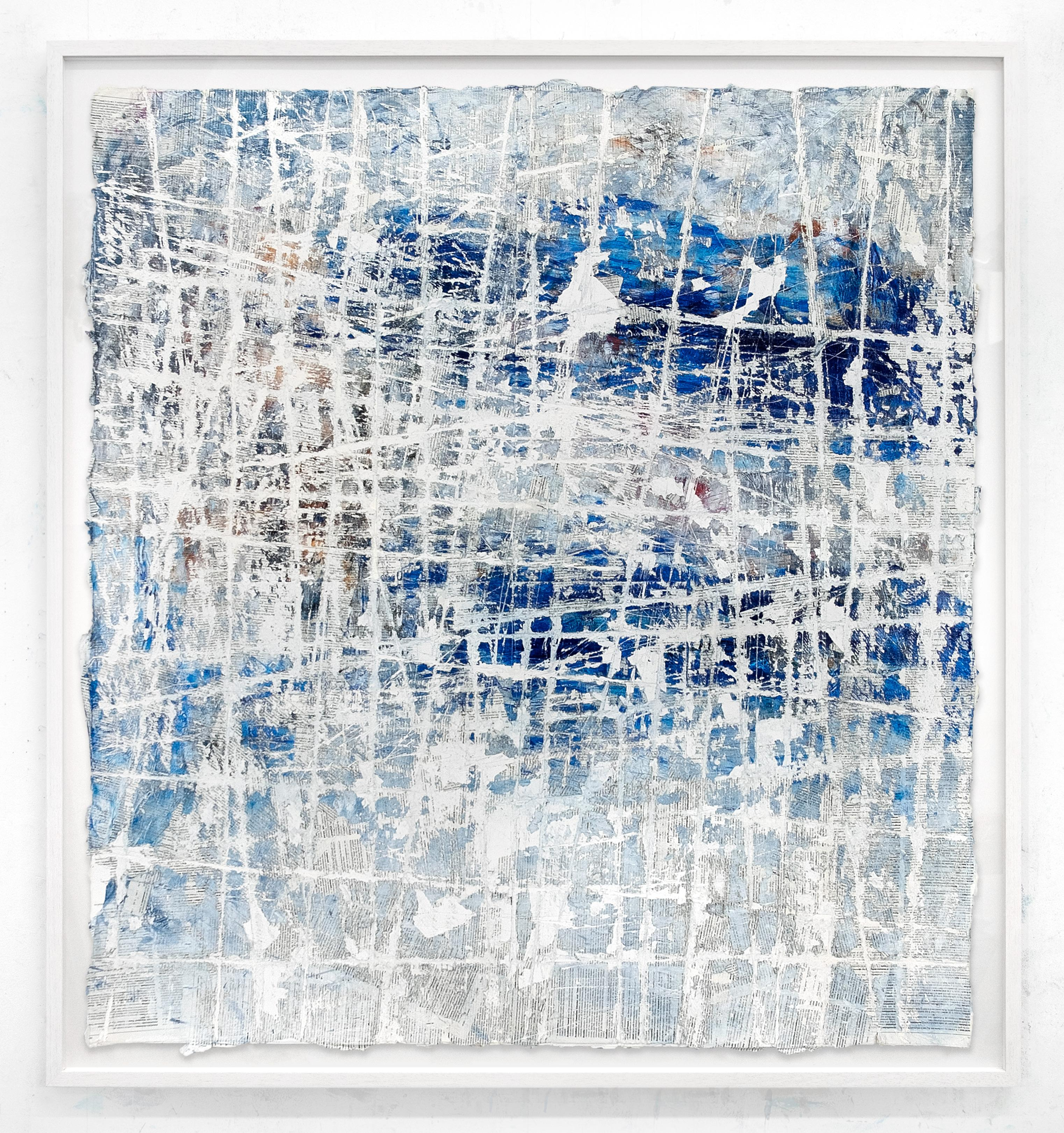 The West Side- street art blue and white abstract painting on paper framed