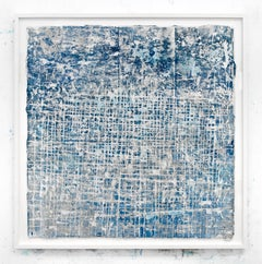 What a Way to Go- street art blue and white abstract painting on paper framed