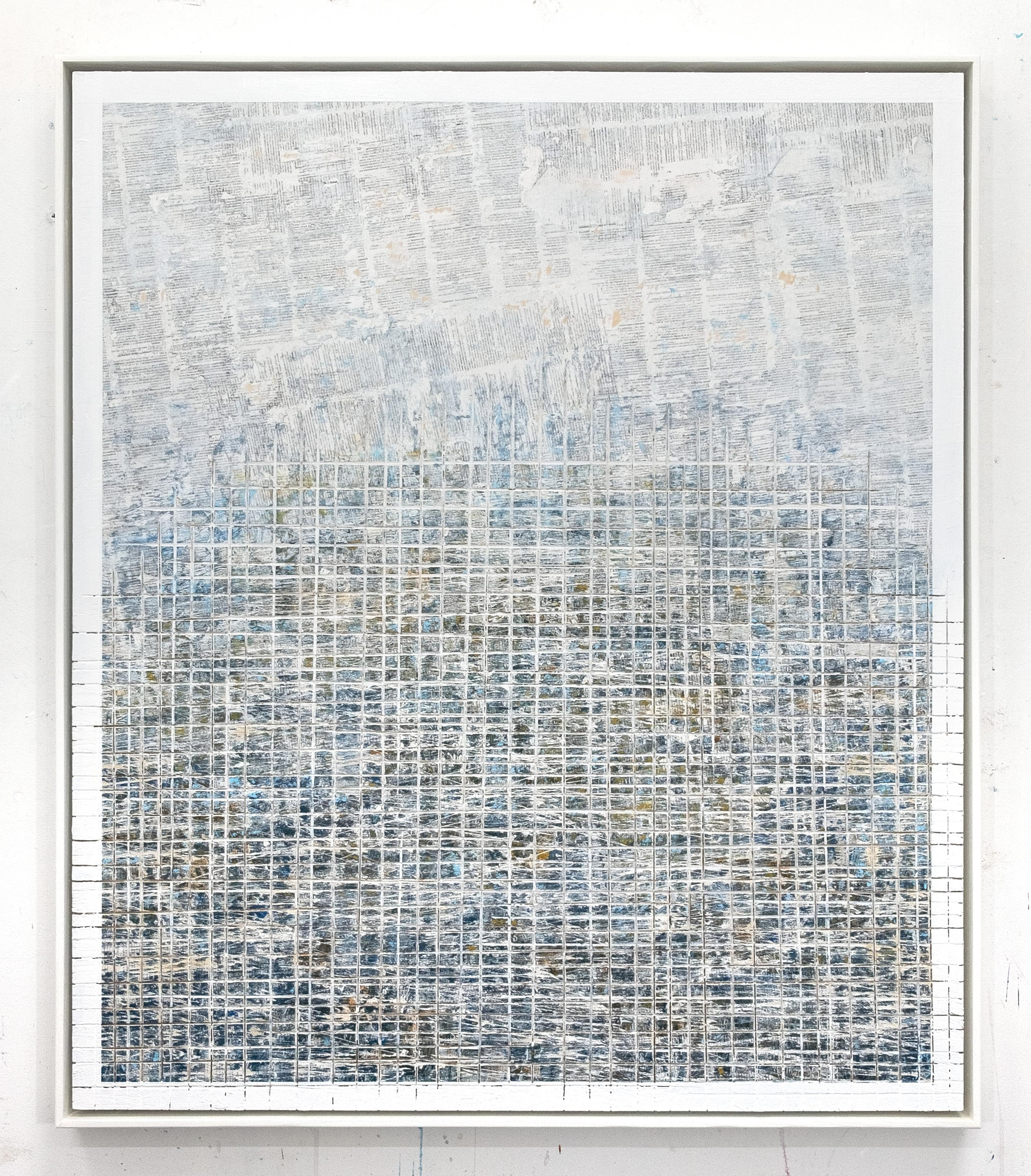Where you've been - street art blue and white abstract framed carved painting