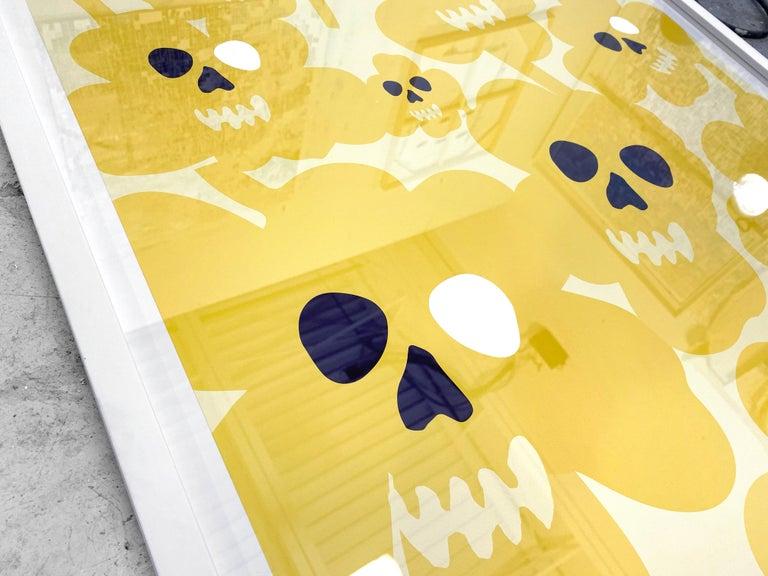 Marimekko flower skulls - street art pop art yellow abstract print  - Print by David Fredrik Moussallem