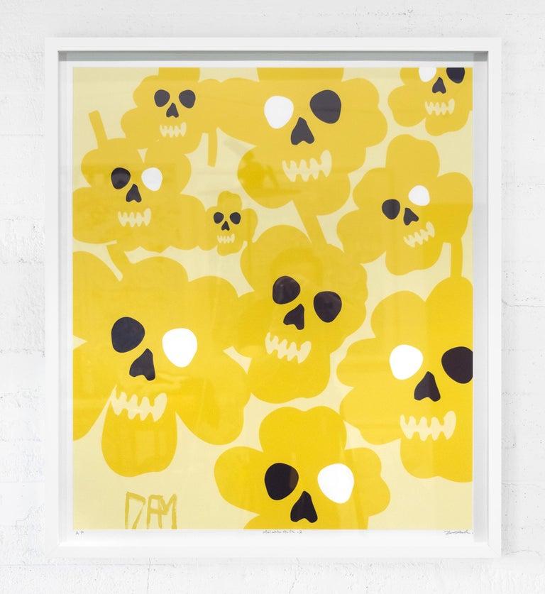 Marimekko flower skulls - street art pop art yellow abstract print  - Pop Art Print by David Fredrik Moussallem