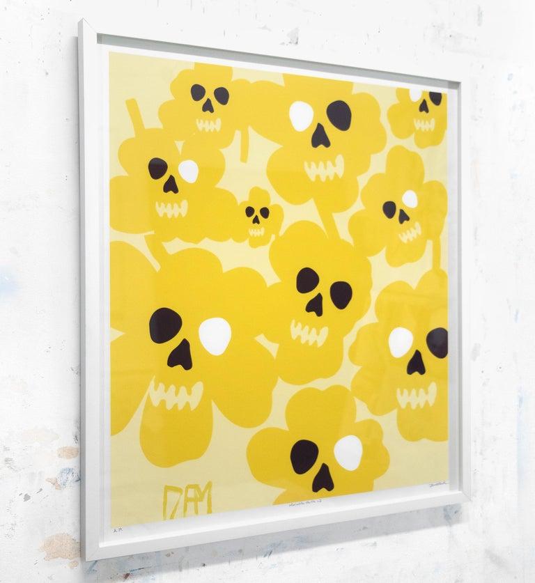 Marimekko flower skulls - street art pop art yellow abstract print  - Yellow Abstract Print by David Fredrik Moussallem