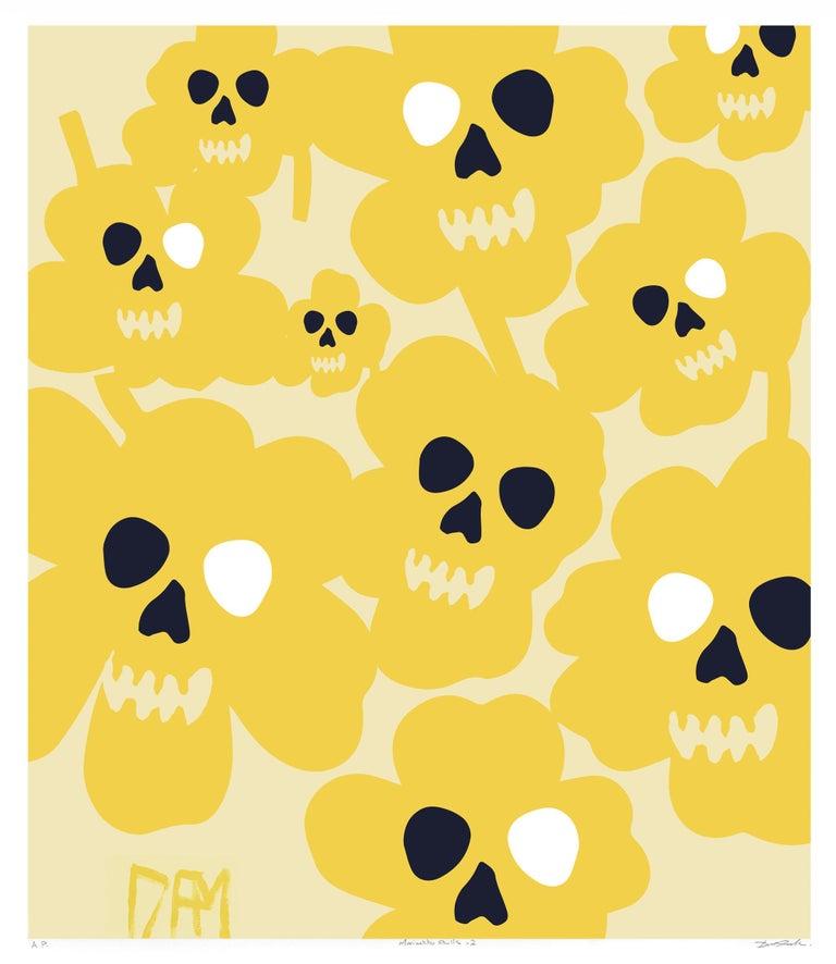David Fredrik Moussallem Abstract Print - Marimekko flower skulls - street art pop art yellow abstract print