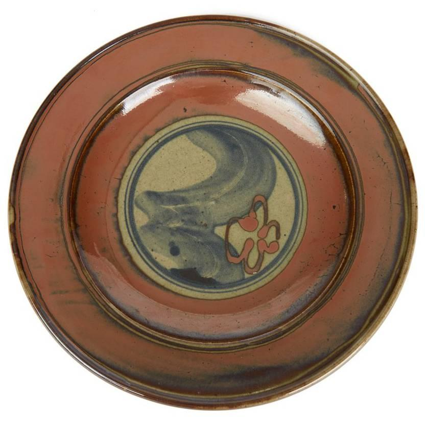 David Frith Abstract Decorated Stoneware Dish, 20th Century