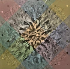 'Untitled, CAM 1' blue, yellow, orange, green grid reveals swirling brushwork