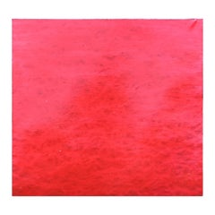 Abstract Modern Red and Black Square Color Field Drip Edge Canvas Painting
